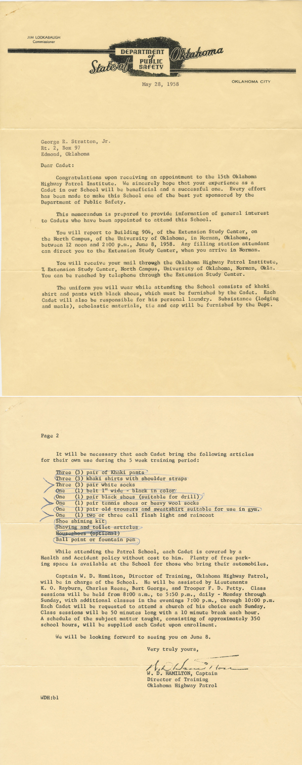 George Stratton 1958 Oklahoma Highway Patrol Academy