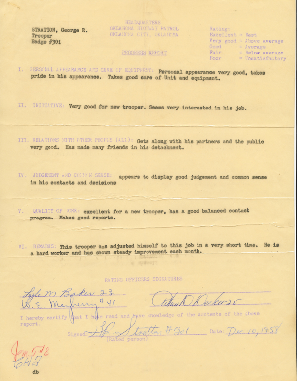 George Stratton 1958 Rookie Progress Report