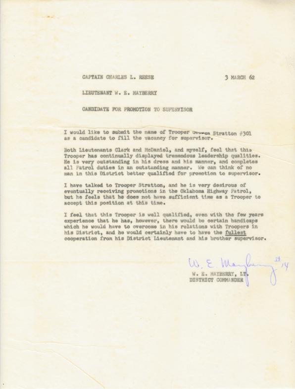 George Stratton Supervisory 1962 Supervisory Recommendation