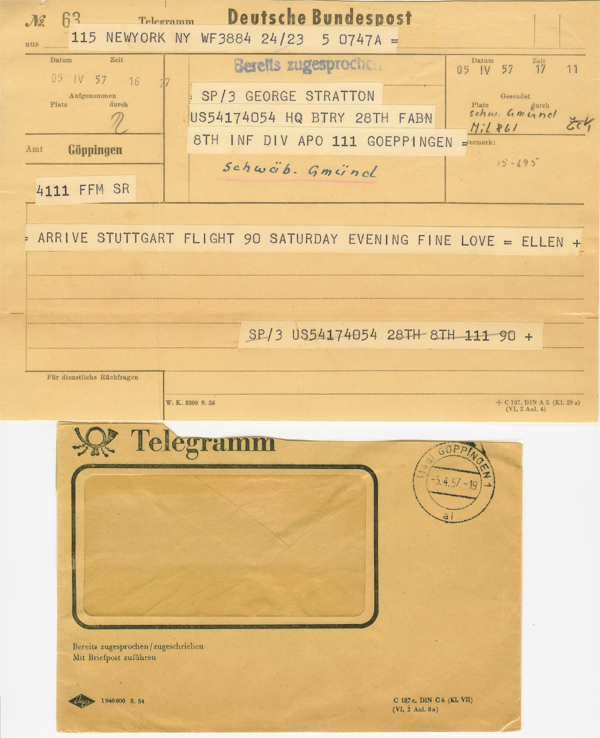 George Stratton and Ellen Stratton 1957 Telegram